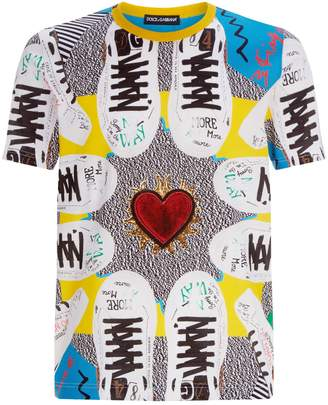 Dolce & Gabbana Graphic Sneaker T-Shirt