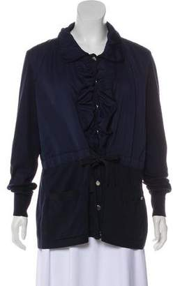 Rena Lange Ruffle-Accented Button-Up Cardigan
