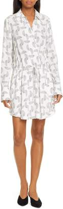 A.L.C. Isobel Print Silk Long Sleeve Shirtdress