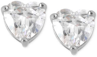 Betsey Johnson Silver-Tone Clear Crystal Heart Stud Earrings