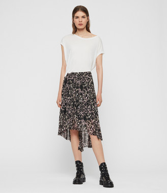 AllSaints Lea Leopard Long Skirt