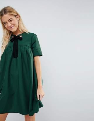Asos DESIGN Mini Smock Dress with Eyelet Detail and Grosgrain Tie