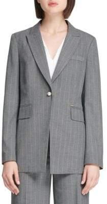Donna Karan Pinstripe Button Front Blazer