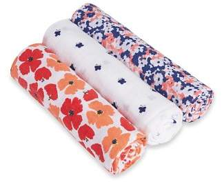 Aden and Anais White Label Infant Girls' Flora Swaddles, 3 Pack