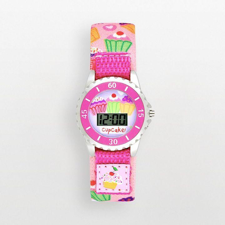 Ikidz silver tone cupcake digital watch - kids