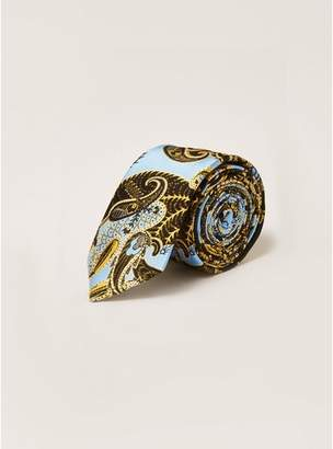 Topman Mens Blue Silk Paisley Print Tie