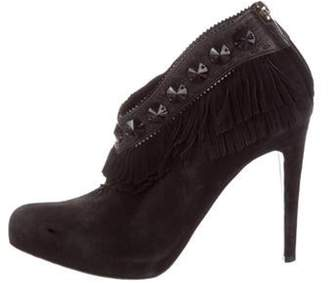Christian Dior Suede Embellished Ankle-Booties Black Suede Embellished Ankle-Booties