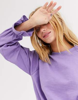 Monki jersey top with balloon sleeves in lilac