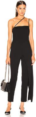 Mason by Michelle Mason Asymmetrical Strap Jumpsuit in Black | FWRD