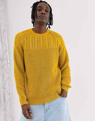 95596070a9c9b6 Asos Design DESIGN yoke cable knit jumper in mustard