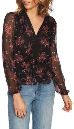 1 STATE 1.STATE Wildflower V-Neck Peplum Blouse