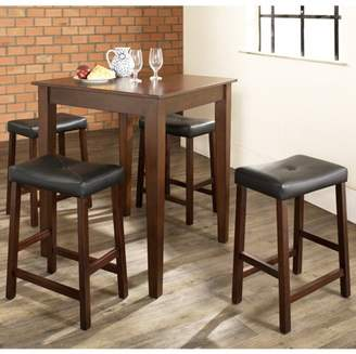 Crosley Furniture 5-Piece Pub Dining Set with Tapered Leg and Upholstered Saddle Stools