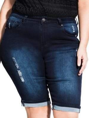 8c73524e16 City Chic Plus Turn-Up Knee-Length Denim Shorts