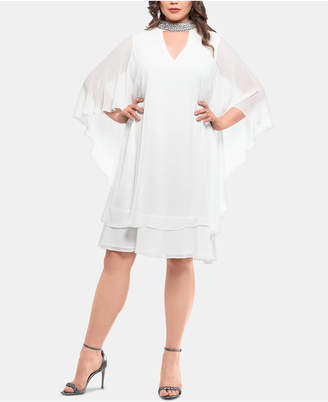 Xscape Evenings Plus Size Embellished-Neck Shift Dress