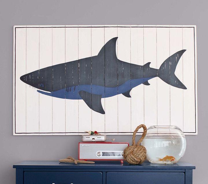 Pottery Barn Kids Planked Wood Shark Artwork