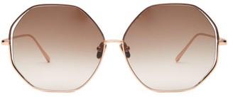 Linda Farrow Oversized Hexagonal Frame Sunglasses - Womens - Beige