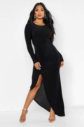 boohoo Ruched Long Sleeve Maxi Dress