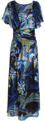 Emilio Pucci Wrap-Effect Printed Silk-Chiffon Midi Dress