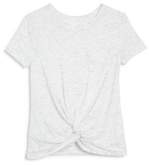 Aqua Girls' Twist-Front Heathered Tee, Big Kid - 100% Exclusive