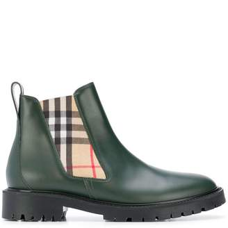Burberry check chelsea boots