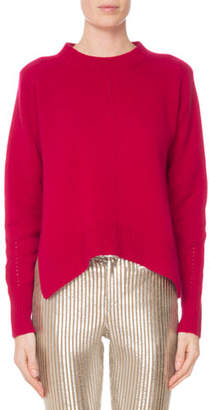 Isabel Marant Crewneck Long-Sleeve Pure Cashmere Sweater w/ Side Slits