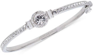 Givenchy Silver-Tone Round Crystal and Pave Hinged Bangle Bracelet