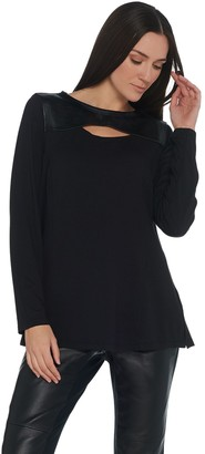 Belle By Kim Gravel Belle by Kim Gravel Faux Leather Trim Cut Out Top