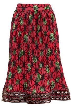 Stella Jean Printed Plisse Crepe De Chine Skirt
