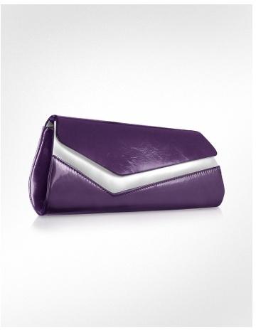 Julia Cocco' Two-tone Patent Eco-Leather Clutch w/Chain Strap