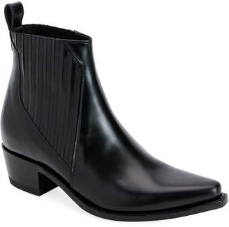 Valentino Cowboy Leather Ankle Booties