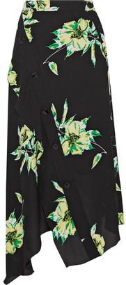 Proenza Schouler - Asymmetric Floral-print Silk-crepe Wrap Skirt - Black $1,000 thestylecure.com