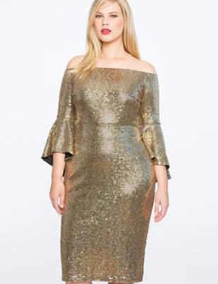 ELOQUII Sequin Off the Shoulder Flare Sleeve Dress