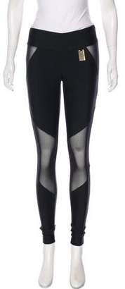 Thomas Wylde Low-Rise Mesh-Accented Leggings w/ Tags