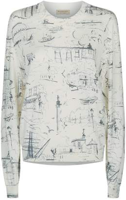 Burberry Scene Sketch Fine Knit Sweater