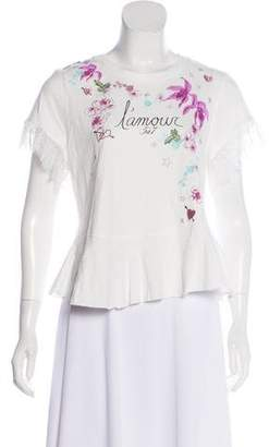 Cinq à Sept Lace-Accented Short Sleeve Top