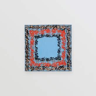 Burberry Scribble Check Silk Square Scarf