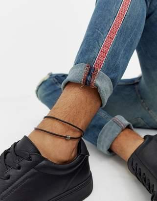 Asos DESIGN leather anklet in black