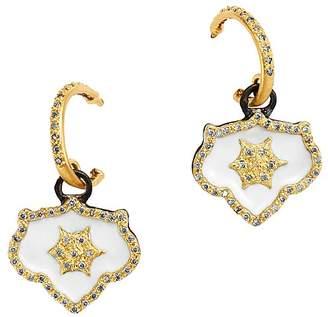 Armenta 18K Yellow Gold & Blackened Sterling Silver Old World Crivelli Champagne Diamond Shield Drop Earrings