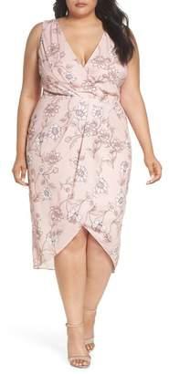 Cooper St Fiorella Floral Drape Sheath Dress (Plus Size)