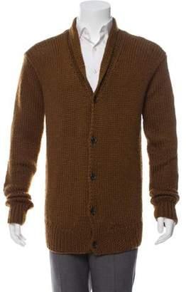 John Varvatos Leather-Trimmed Wool-Blend Cardigan brown Leather-Trimmed Wool-Blend Cardigan