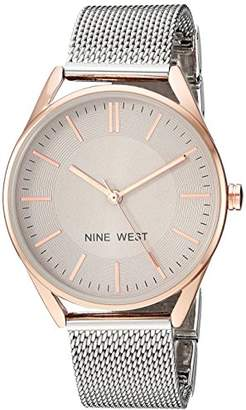 Nine West Women's NW/2195TPRT Rose Gold-Tone and Silver-Tone Mesh Bracelet Watch