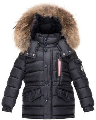 Moncler Boys' Lilian Hooded Puffer Coat, Navy, Size 4-6 $700 thestylecure.com