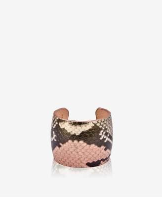 GiGi New York Amelia Leather Cuff In Rose Wash Embossed Python