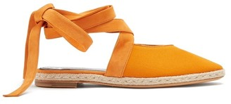 J.W.Anderson Suede Trimmed Lace Up Espadrilles - Womens - Orange