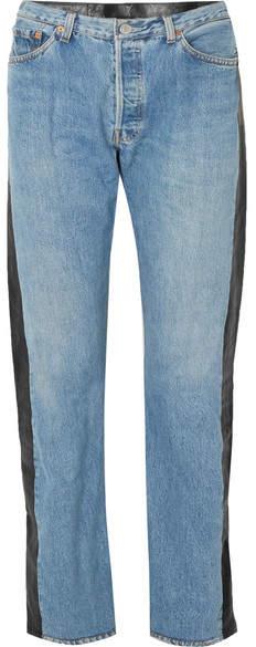 Vetements 皮革拼接高腰直筒牛仔裤