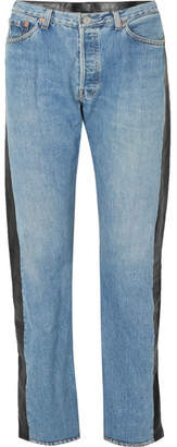 Vetements Leather-paneled High-rise Straight-leg Jeans - Mid denim