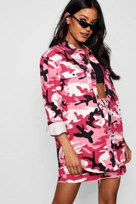 boohoo Pink Camo Print Oversize Denim Shacket