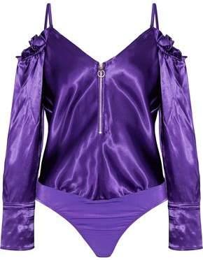 Nina Ricci Cold-Shoulder Zip-Detailed Satin Bodysuit