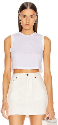 RE/DONE The 70's Cropped Muscle Tank in Optic White | FWRD