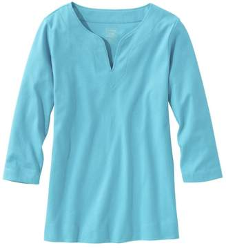L.L. Bean L.L.Bean Women's Pima Cotton Tunic, Three-Quarter-Sleeve Splitneck